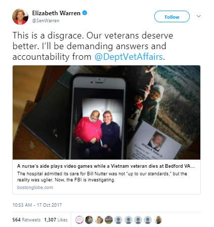 Eliabeth Warren - Vietnam vet died at VA hospital while nurse's aide played video games on computer