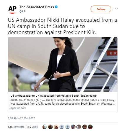 Haley - Nikki Haley evacuated from South Sudan amid hundreds of protestors turned violent