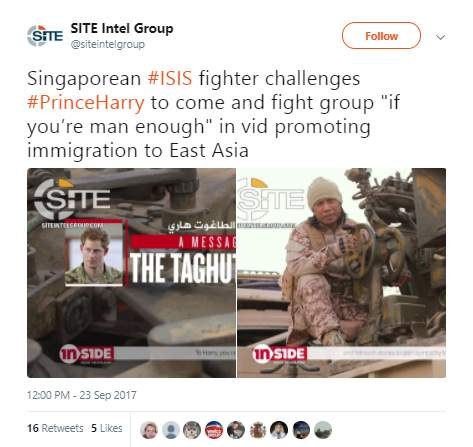 ISIS Singapore twitter - ISIS challenges Prince Harry to fight so they can send him 'to hellfire'
