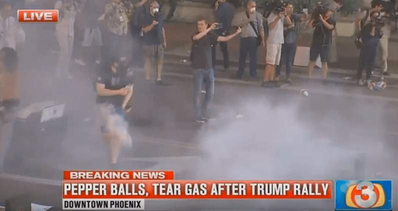 This antifa protestor got hit right in the privates with a smoke grenade Featured