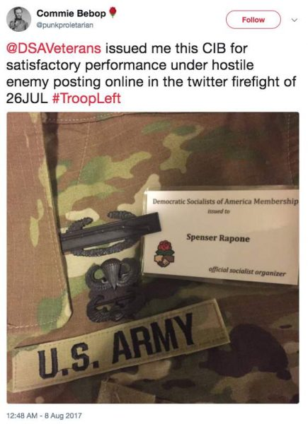 Screen Shot 2017 09 26 at 11.00.25 AM 435x600 - U.S. Army and West Point both respond about 'official socialist organizer' and Army officer Spenser Rapone who is espousing Communism