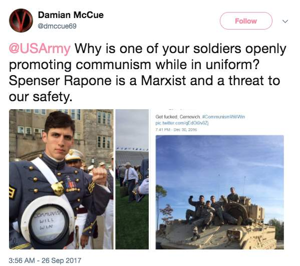 Screen Shot 2017 09 26 at 9.36.54 AM - West Point grad Army officer is 'official Socialist organizer' who spreads Communist propaganda relentlessly