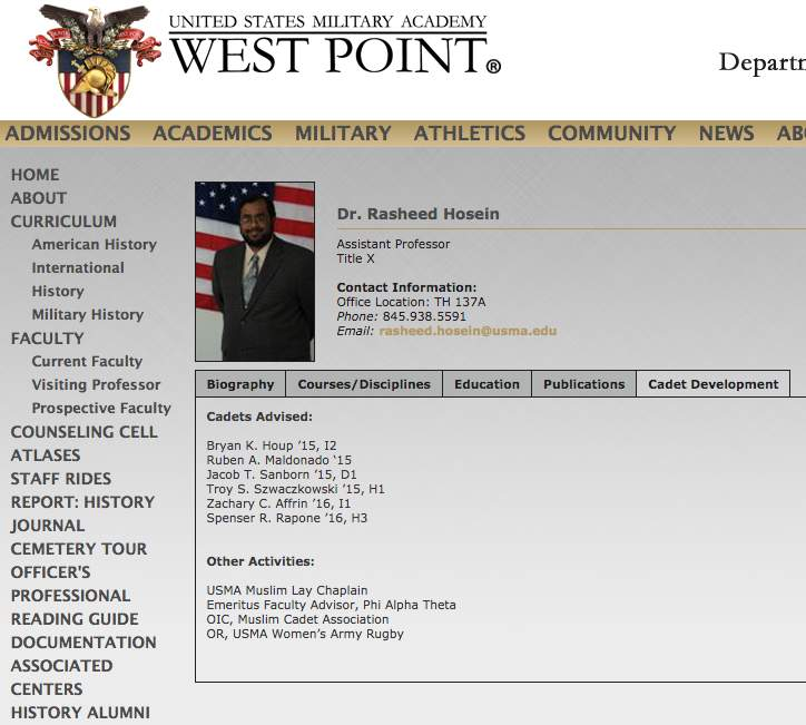 Screen Shot 2017 09 29 at 10.20.09 AM - Report: West Point professor Rasheed Hosein who mentored 'socialist organizer' Army officer placed on admin. leave