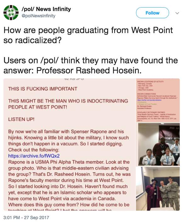 Screen Shot 2017 09 29 at 8.50.22 AM - Report: West Point professor Rasheed Hosein who mentored 'socialist organizer' Army officer placed on admin. leave