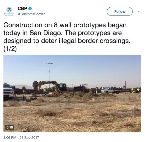 Screen Shot 2017 10 12 at 1.45.55 PM - Several prototypes of Trump's Mexico border wall are nearly complete - see what they look like