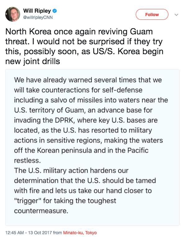 Screen Shot 2017 10 13 at 9.26.43 AM - North Korea says 'hand closer to trigger' on bombing Guam
