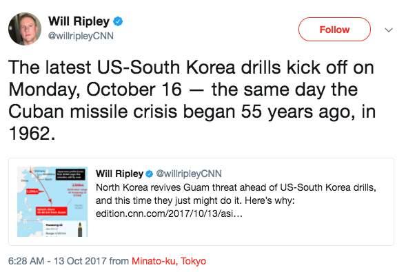 Screen Shot 2017 10 13 at 9.26.57 AM - North Korea says 'hand closer to trigger' on bombing Guam