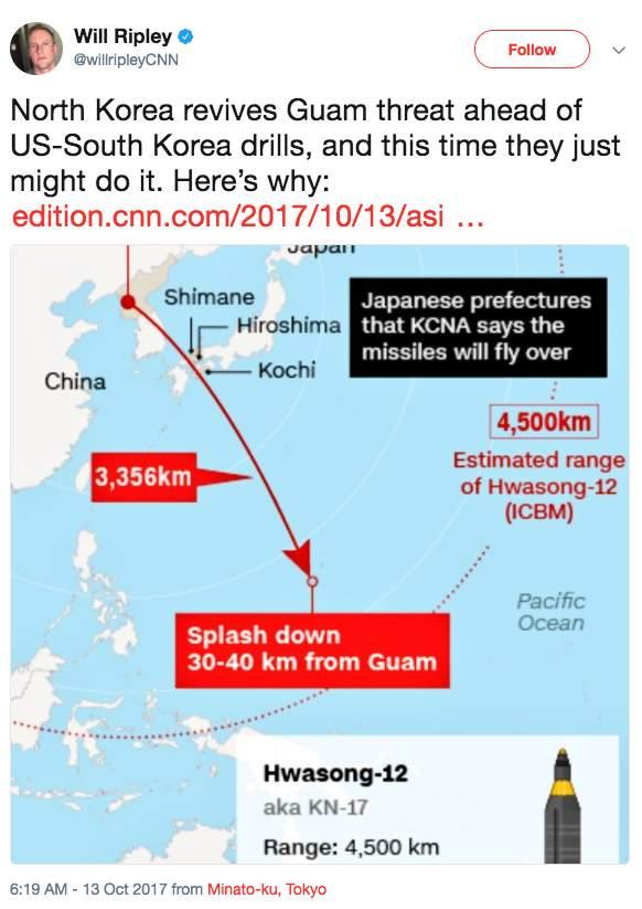 Screen Shot 2017 10 13 at 9.27.13 AM - North Korea says 'hand closer to trigger' on bombing Guam