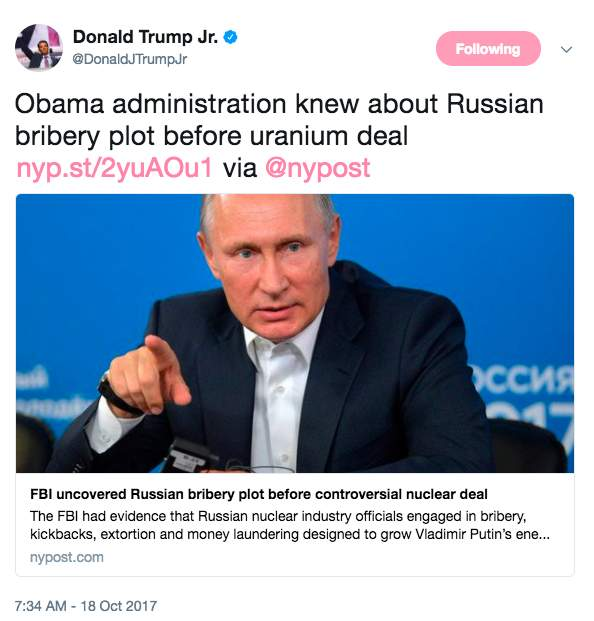 Screen Shot 2017 10 18 at 9.50.52 AM - FBI knew about Russia's bribery scheme to control US uranium before deal was approved: report