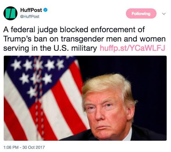 Screen Shot 2017 10 30 at 1.40.42 PM - Trump's transgender military ban partially blocked by federal judge