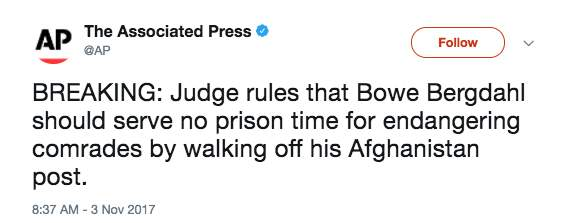 Screen Shot 2017 11 03 at 11.42.28 AM - Judge rules Bowe Bergdahl won't serve prison time, receives dishonorable discharge