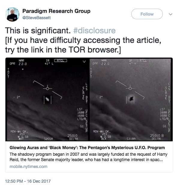 Pentagon funded secret multimillion dollar program to investigate UFOs