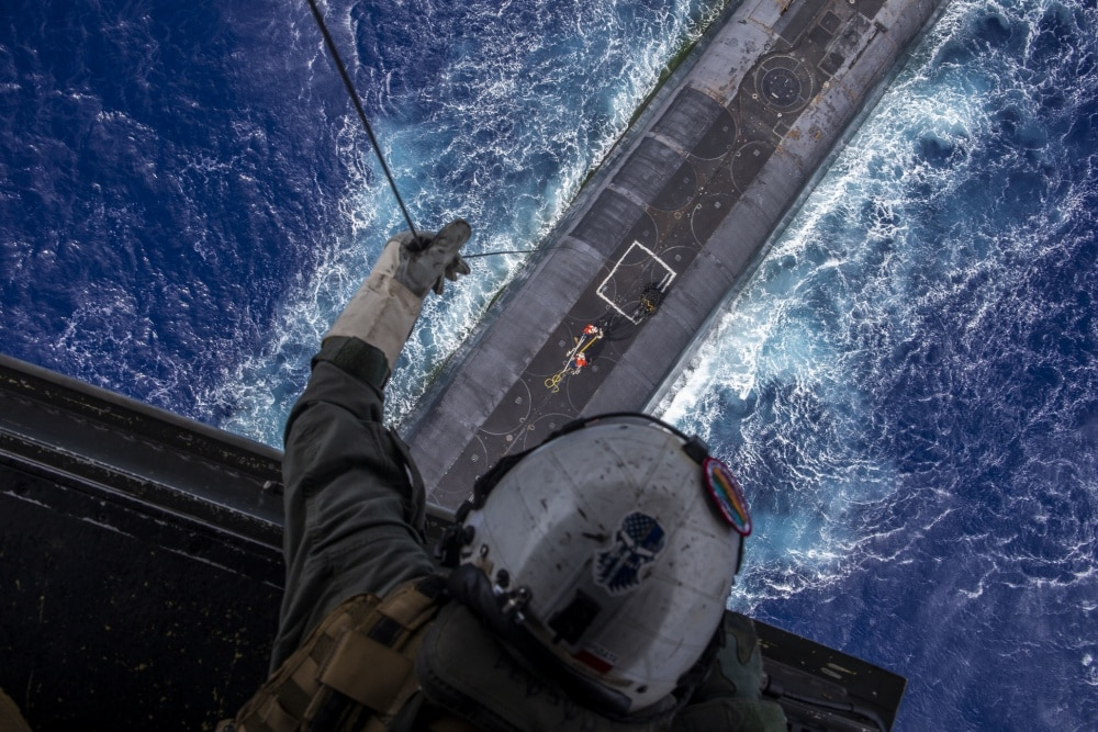 VIDEO: Ballistic missile submarine practices drone, Osprey and helicopter resupply off Hawaii