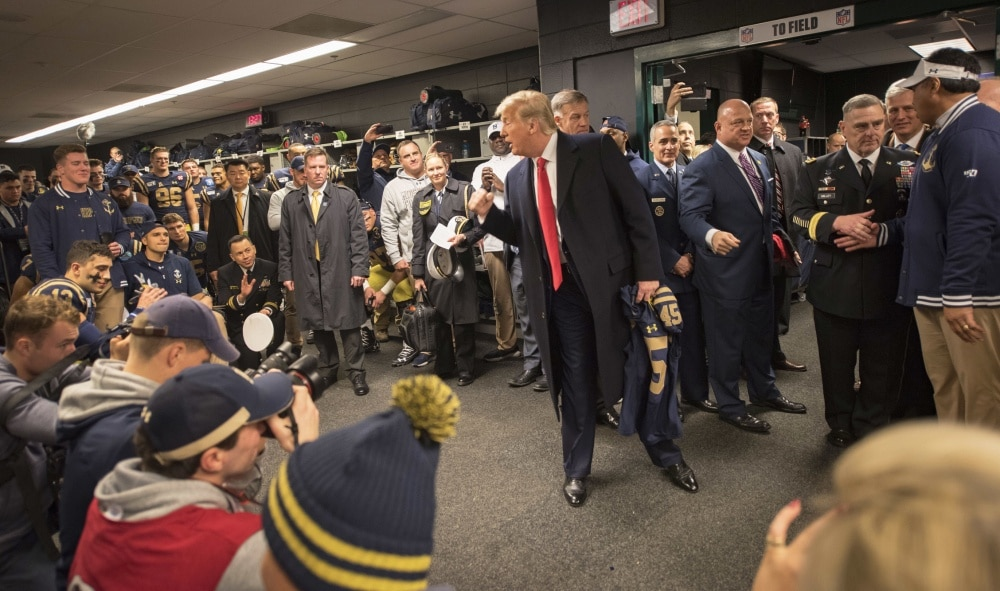 VIDEO/PICS: Trump meets with Army-Navy players ahead of 120th match-up