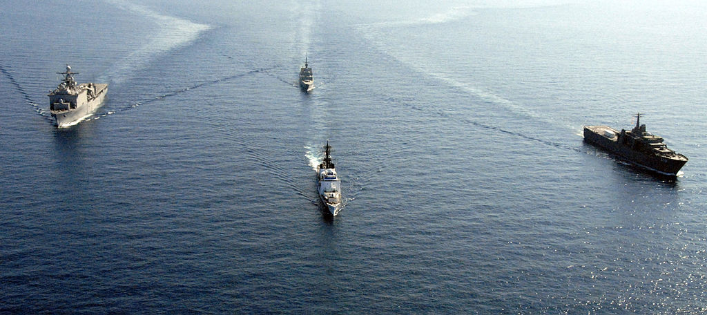 1024px US Navy 080629 G 9409H 602 U.S. Navy and Republic of Singapore ships steam through the South China Sea - China To Vietnam: Stop Building Man-Made Islands In South China Sea