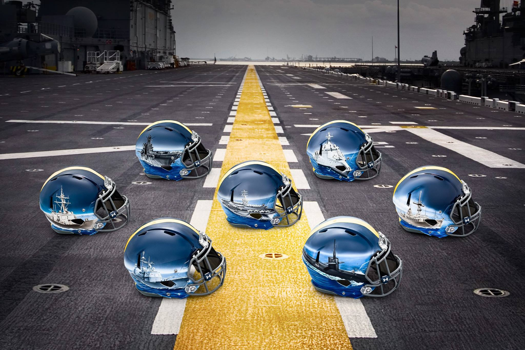 (PHOTOS) Navy Unveils Incredible Hand-Painted Helmets For Rivalry Game Vs. Army Featured