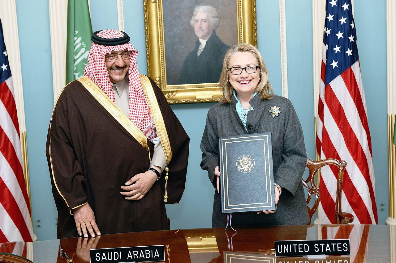 Hillary Clinton with Saudi Arabian Prince Mohammed bin Naif Abdulaziz in 2013.