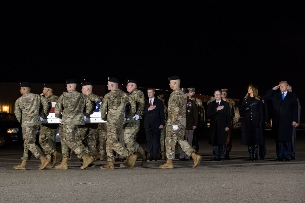 Trump makes unannounced trip to receive bodies of 2 fallen soldiers at Dover Air Force Base