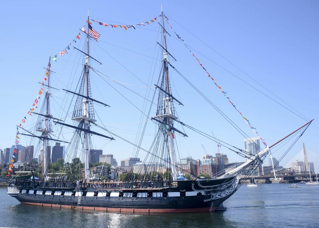 USS Constitution celebrates its 222nd birthday with a 21 gun salute at Fort Independence