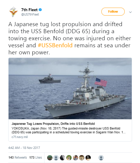 7th fleet - Japanese tug boat collides with Navy destroyer