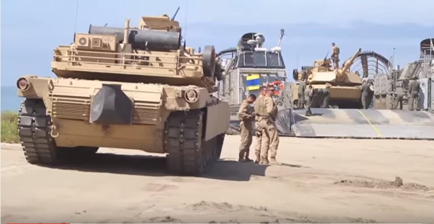 Watch M1 Abrams Tanks Going In For A Dive During Amphibious Landing Training Featured