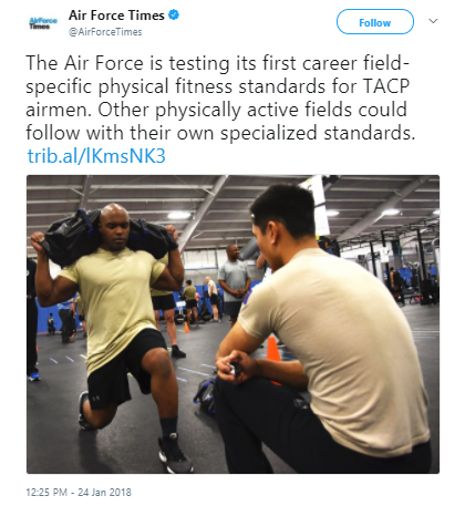 Air Force Times - Air Force rolls out new career field-specific fitness tests