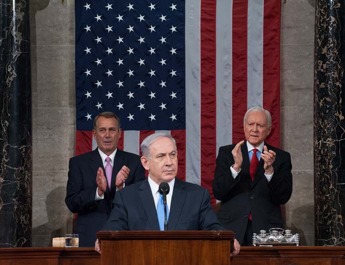 Prime Minister Benjamin Netanyahu speaking to Congress in 2015 of his concerns about the Iran Deal