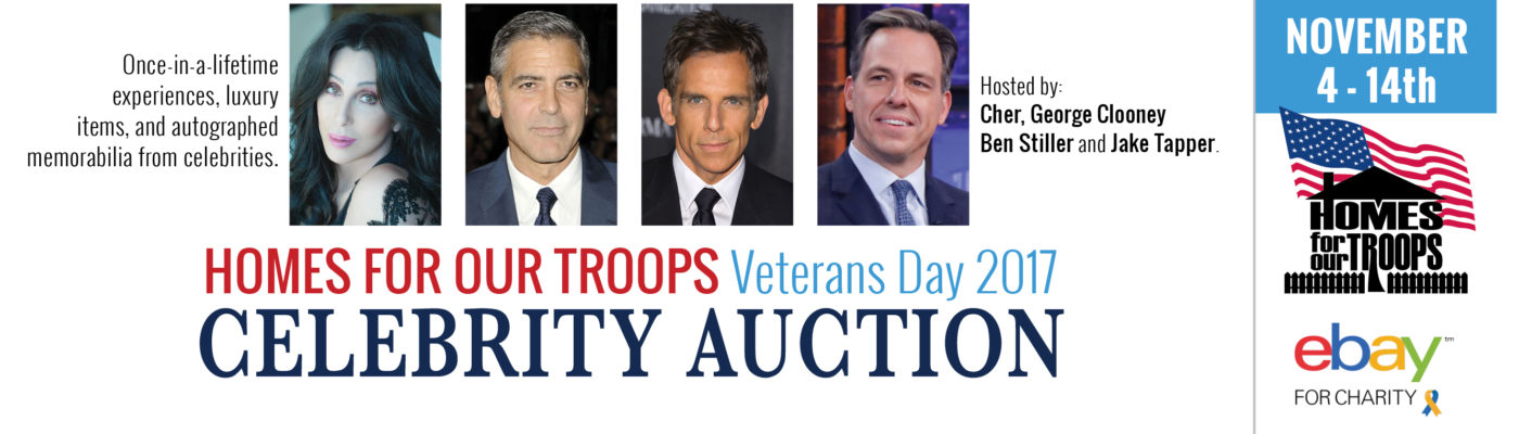 Huge celebrity eBay auction will raise money for post-9/11 veterans; all proceeds go to Homes For Our Troops Featured