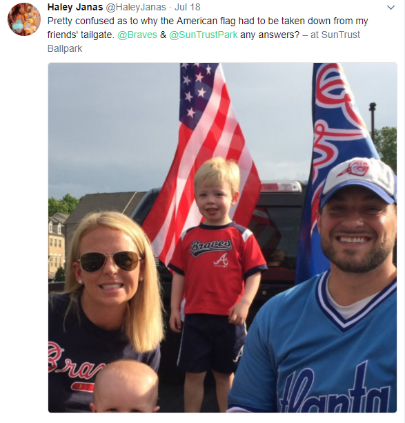 Braves tailgate - Army vet told to take down American flag at Atlanta Braves tailgate