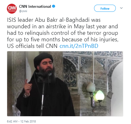 CNN international - ISIS terror leader al-Baghdadi hiding out in Syria after being injured in May airstrike