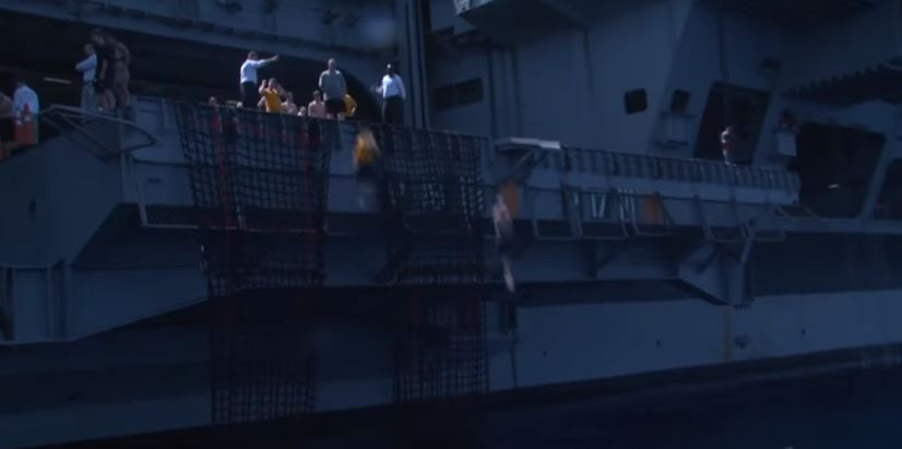 (WATCH) Navy Sailors' Coolest Perk? Jumping Off Aircraft Carriers To Swim In Ocean Featured