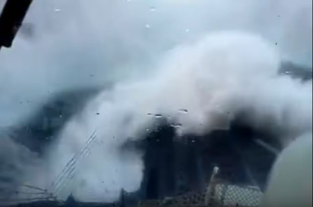 Watch This Massive Rogue Wave Nearly Submerge This Vessel Featured