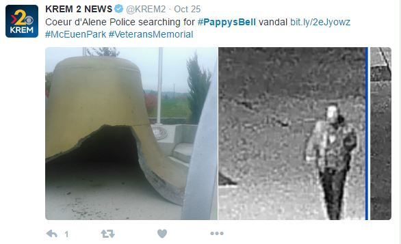 "Capture 182 - Vandals Cause $15,000 Worth Of Damage To ""Pappy's Bell"" At Veterans' Memorial"