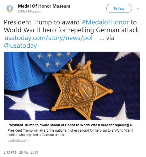 President Trump to award Medal of Honor to WWII hero