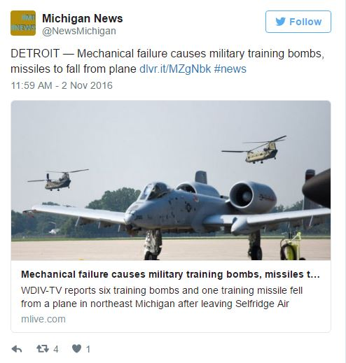 Capture 191 - A-10 Warthog Accidentally Drops Training Bombs On Northern Michigan