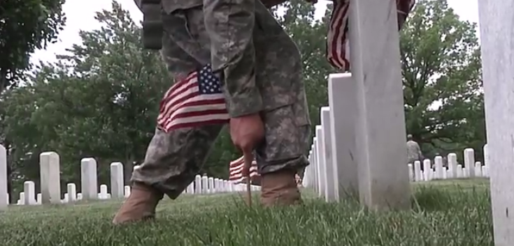 Watch Incredible Video Of Soldiers Placing Flags On Tombstones Of Fallen Troops At Arlington National Cemetery Featured