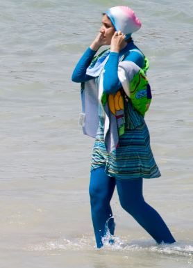 "An example of a ""burkini"" often worn by Muslim and Arabic beach-goers."
