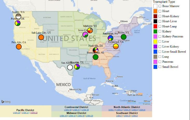 A map of all organ transplant performing facilities available through the VA.