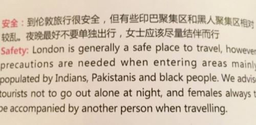 Capture 96 - Major Chinese Airline Warns Passengers To Stay Away From Blacks, Pakistanis And Indians In London.