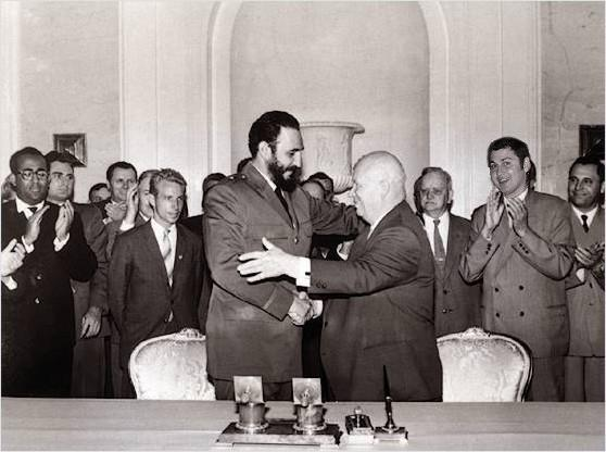 Fidel Castro with Nikita Khrushchev, former Soviet Union leader during the Cold War.