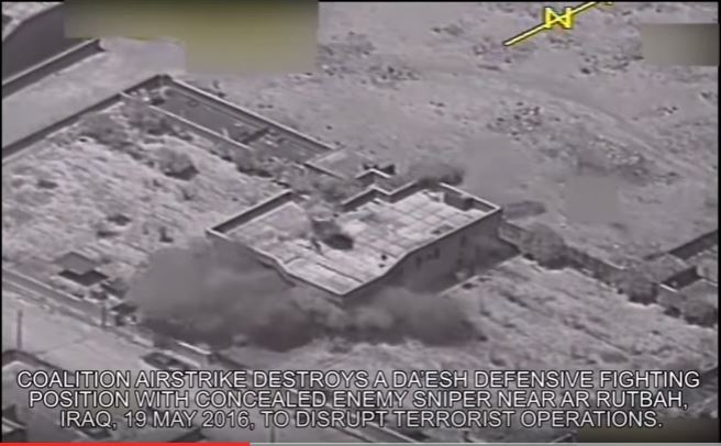 (VIDEO) Coalition Airstrike Destroys ISIS Defensive Fighting Position Near AR Rutbah In Iraq Featured