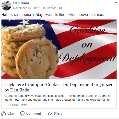 Cookies - Family wants to send homemade cookies and handwritten letters to troops with Cookies on Deployment