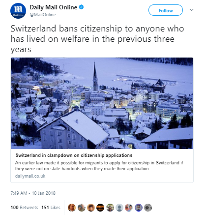 Daily Mail Online - Switzerland denies citizenship to welfare recipients unless they pay it back