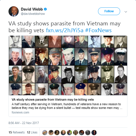 David Webb - Parasite from raw fish may be killing veterans who served in Vietnam, VA says