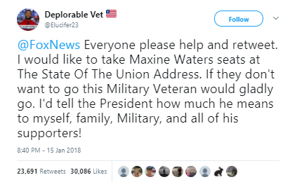 Deplorable Vet - Viral Army vet on Fox News wants Maxine Waters' State of the Union seat