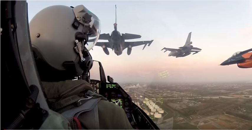 Incredible Cockpit View From An F-16 Fighting Falcon Flying In Formation Over Amsterdam Featured