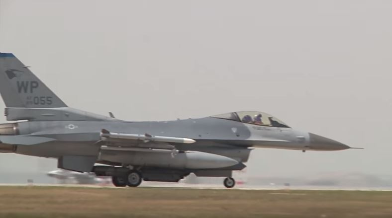 F-16 during takeoff and landings in South Korea.