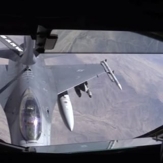 F 16 Refueling 320x320 - (WATCH) A KC-135 Stratotanker refuels a pair of F-16C Fighting Falcons mid-flight