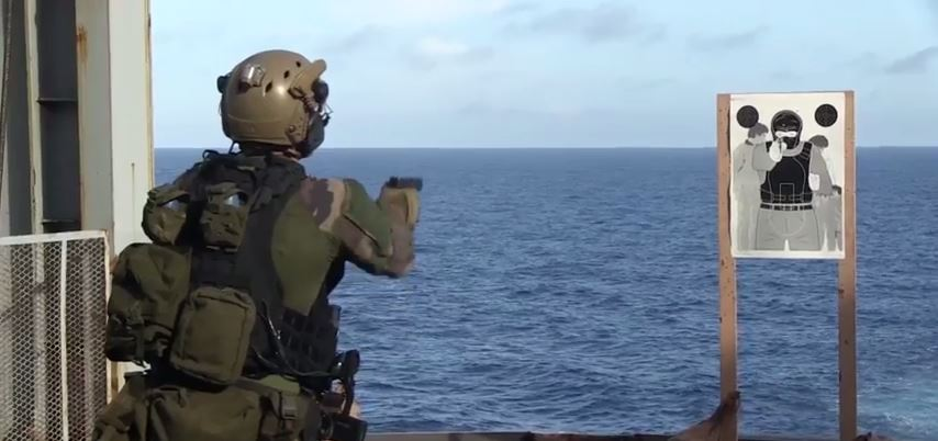 French U.S. Marine Exercise - Watch U.S. Marines Conduct A Bilateral Deck Shoot With French Commando Marines Aboard The French Ship BPC Mistral