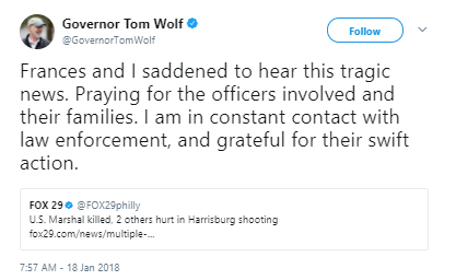 Governor Tom Wolfe - US marshal killed in Harrisburg shooting was an Army veteran